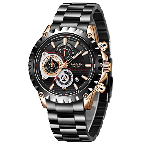 Mens Watches, LIGE Watches for Men Waterproof Fashion Business Casual Sport Stainless Steel Quartz Wristwatch for Men Date Chronograph