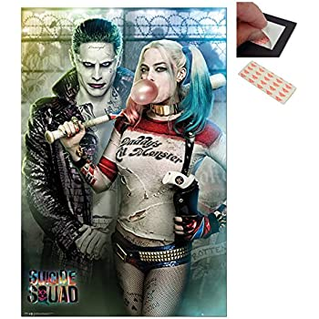 Bundle 2 Items Suicide Squad Joker And Harley Quinn Poster 91 Cms