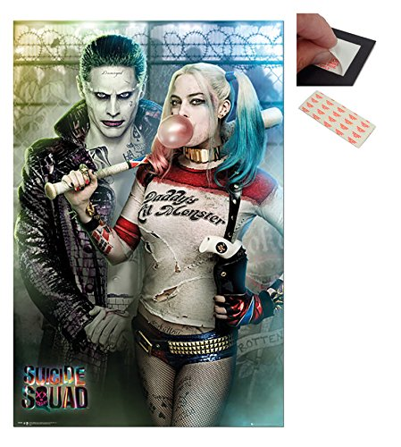 Bundle - 2 Items - Suicide Squad Joker And Harley Quinn Poster - 91.5 x 61cms (36 x 24 Inches) and a Set of 4 Repositionable Adhesive Pads For Easy Wall Fixing