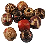 Print Barrel Wood Beads Mix, 16mm, Lead Free, 40pc Pkg