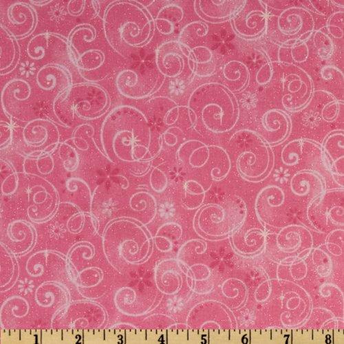 Fabric Traditions Make Believe Glitter Swirls Pink Fabric By The Yard