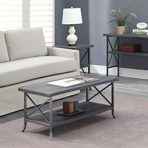 - Convenience Concepts 111882CGY Brookline Coffee Table, Charcoal Slate Gray Frame