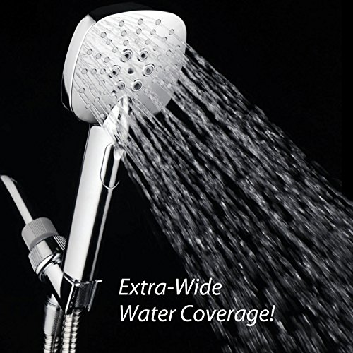 AirJet-350 High Pressure Luxury Multi-Function Hand Shower with High-Velocity Flow Accelerator(TM) Hydro-Engine for More Power with Less Water! Latest Square Oval Design and Push-button Flow Control by Turbo Spa (Image #2)