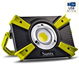Sunix LED Rechargeable Work Light 30W, Portable Spotlight Camp Light, IP64 Waterproof, 4 Modes, Built-in Rechargeable Security Light with 5V 2. 1A USB Port and SOS Mode 1600lm
