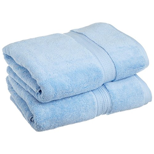 """Superior 900 GSM Luxury Bathroom Towels, Made of 100% Premium Long-Staple Combed Cotton, Set of 2 Hotel & Spa Quality Bath Towels - Light Blue, 30"""" x 55"""" each"""