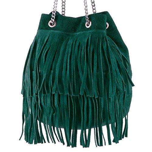 Virginia Bucket Made 100 Borderline In Suede Pétrole Sac Femme Italy Vert xqFAXTA8w