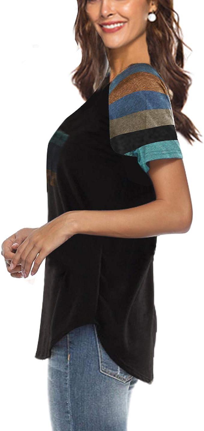 iChunhua Stile Casual Maglietta a Maniche Lunghe da Donna a Blocchi di Colore Raglan