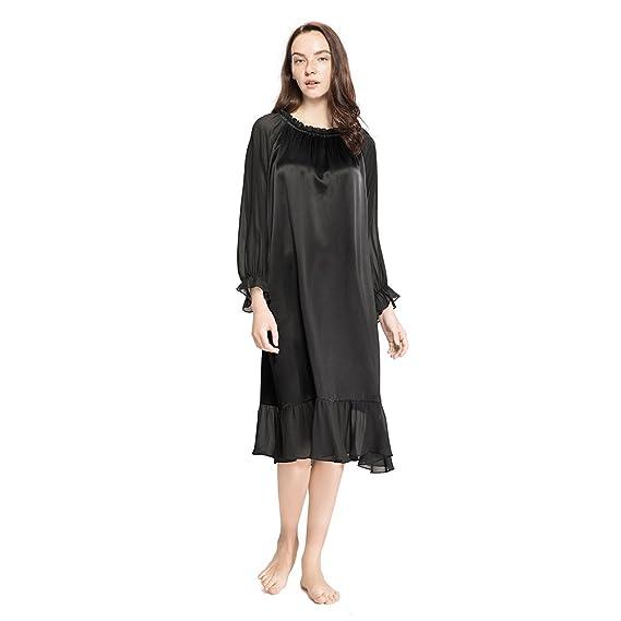 fbf20e2a4c LILYSILK Ladies Medieval Retro Style Silk Nightdress with Wrinkles Trim  22MM Pure Silk  Amazon.co.uk  Clothing