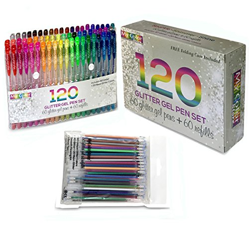 My Color Store 120 Glitter Gel Pens Set, 60 Glitter Pens + 60 Refills, Fold-able Case + Gift Box by My Color Store (Image #1)