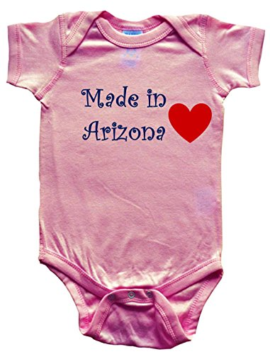 MADE IN ARIZONA - ARIZONA BABY - State-series - Pink Baby One Piece Bodysuit - size Small - Kids Flagstaff