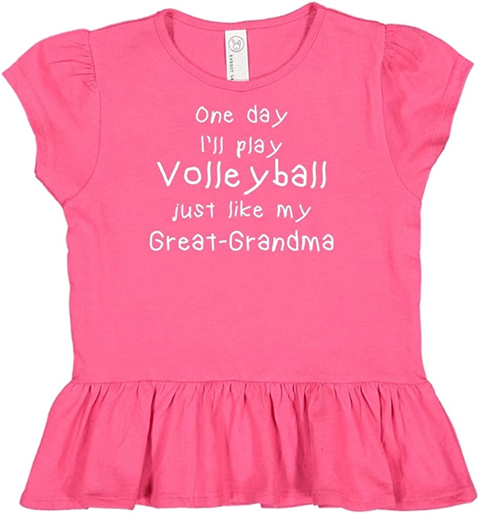 Toddler//Kids Ruffle T-Shirt One Day Ill Play Volleyball Just Like My Great-Grandma