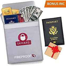 """SPECIAL OFFER Fireproof Document Bag PLUS BONUS - 15"""" x 11"""" Fire Resistant- Water Proof- NON- ITCHY silicone - Fire Safe Storage For Money, Notes, Passport, Documents, Phones And Jewelry"""