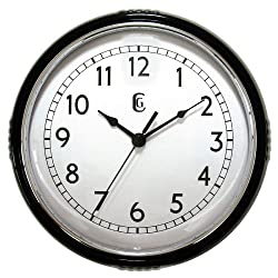 Geneva 9.5 Black Plastic Wall Clock, Black