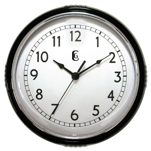 Geneva 9.5 Black Plastic Wall Clock, Black