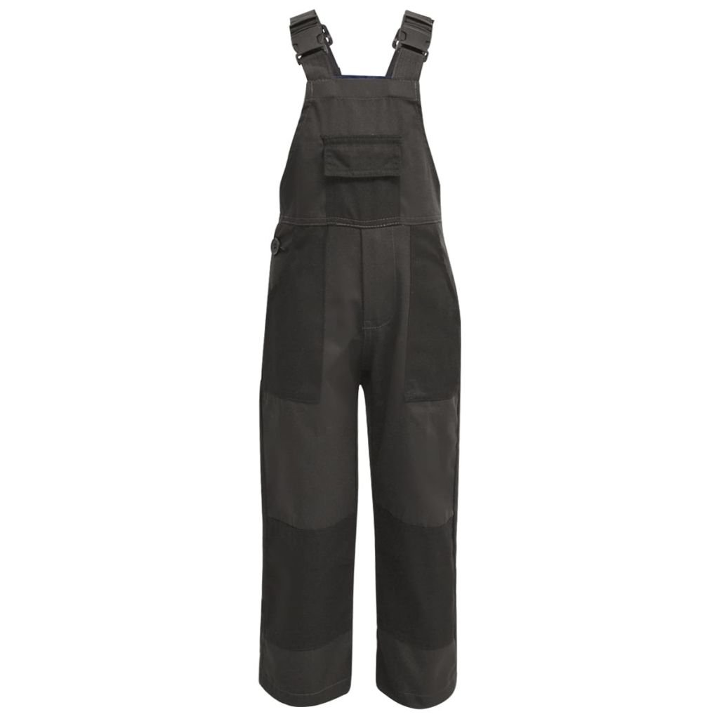 Festnight Kid's Dungarees Children Bib Overalls - Grey Fabric Size 134/140