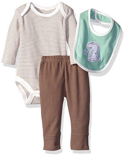 Rene Rofe Baby Boys' 3 Piece Turn Me Round Pant Set with Bib and Bodysuit, Dino Natural Stripe, 3-6 Months