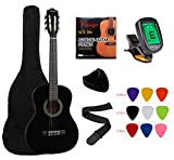 "YMC Classical Guitar 1/2 Size 34"" Inch Nylon Strings Classical Acoustic Guitar Starter Pack With Carrying Case & Accessories for Beginner Students Children-Black"