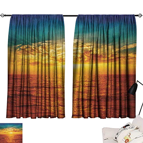 Aurauiora Navy Curtains Ocean,Sunset Clouds Exotic Seaside with Sun Rays Magical Evening View Picture Print Art, Multicolor 72