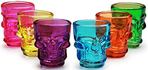 Halloween Shot Glass (Palais Glassware 'Crâne' Collection, Skull Shot Glasses, Set Of 6 (Multi Colored))
