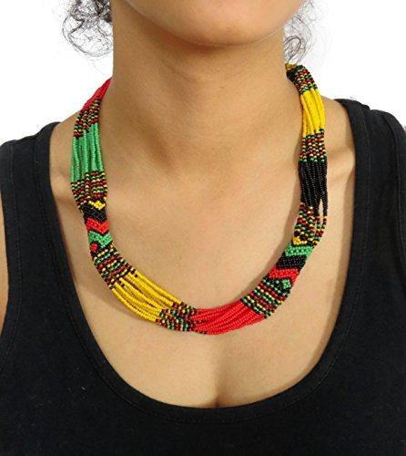 African Beaded Necklace (African Zulu beaded short necklace – Rasta colours - Gift for her)