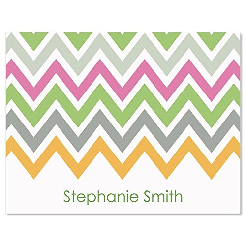 Chevron Personalized Note Card Set - 24 cards with envelopes