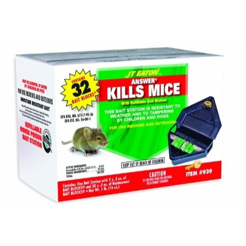 JT Eaton 939 Answer Kills Mice with Reusable Bait Station with 16-Ounces of Top Gun Bait by J T Eaton