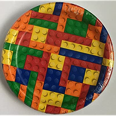 Block Party Supplies for 20 -- Block Party 7 inch dessert plates (20) and 12 inch Napkins (20) (Bundle of 2 items) Total 40 pieces: Health & Personal Care