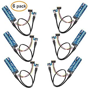 Relper-Lineso 6Pack PCIe VER 006 PCI-E 1X to 16X Powered Riser Adapter Card w/ 60cm USB 3.0 Extension Cable & MOLEX to SATA Power Cable - GPU Riser Adapter Ethereum Mining ETH (6-Pack V006)