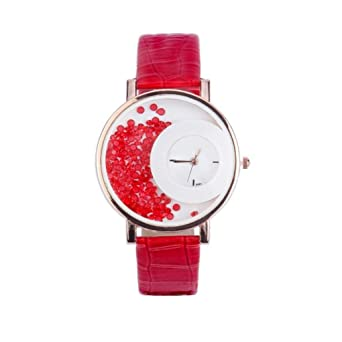 41f9ec664 HIRA Diamond Round Dial Red Watch for Girl's and Women's Fashion Wrist Watch