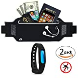KroO On-The-Go Bundle Running Waist Belt Fanny Pack + Mosquito Repellent Bracelet for Adults, Kids, Men and Women (Crow Black)