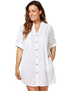 fe449425d0 Swimsuits for All Women's Plus Size Button Up Shirt Swimsuit Cover Up