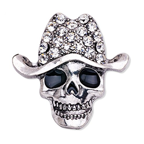 BESTOYARD Gothic Punk Skull Head Skeleton Crystal Rhinestone Brooch Pin Halloween (Silver)
