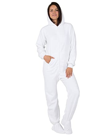 Amazon.com  Footed Pajamas - In The Clouds Adult Hoodie Chenille Onesie   Clothing 22d732f33