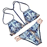 Sexy Snake Print Triangle Top Bikini Set Strappy Side Bottom Swimsuit Two Piece S