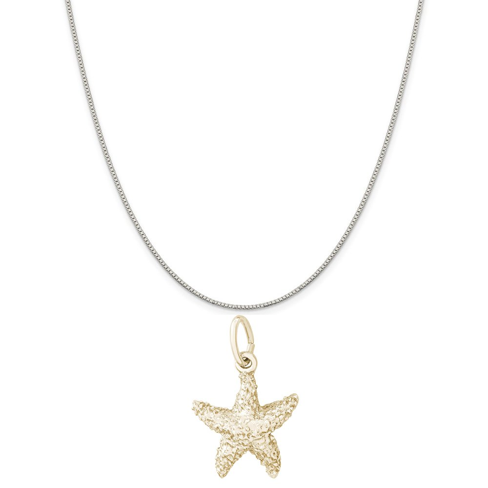 18 or 20 inch Rope Box or Curb Chain Necklace Rembrandt Charms Two-Tone Sterling Silver Sea Star Charm on a Sterling Silver 16