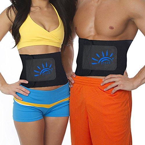 FTEOX Waist Trimmer,Waist Trainer Waist Trimmer Belt Weight Loss Wrap Fat Stomach Burner Ab Belt Belly sweat belt Body Shaper Back Lumbar Support with Sauna Suit for Women&Men (Black, Large 45''x9'')