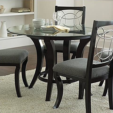 Steve Silver Company Cayman Round Dining Table in Black with Glass Top - 48 Round Pedestal Dining Table