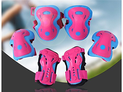 Wetietir Skating 6 Pcs/Set Kid's Protective Gear Set Elbow Knee Handguard Roller Skating Skateboard BMX Scooter Cycling (Blue Pink M) Protection by Wetietir