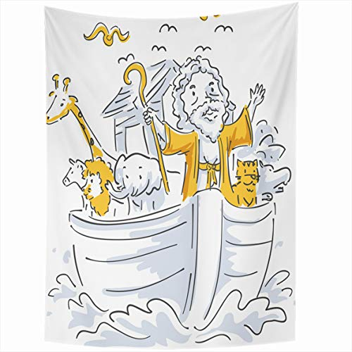 Ahawoso Tapestry 50x60 Inches Bible Story About Noah Different Riding His Ark Design Wall Hanging Home Decor Tapestries for Living Room Bedroom Dorm