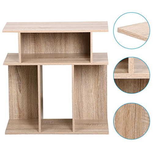 Eight24hours Rustice Accent Side Table Book Storage Display Shelves Sofa End Console Table - Oak - Expandable Corner Tv Console