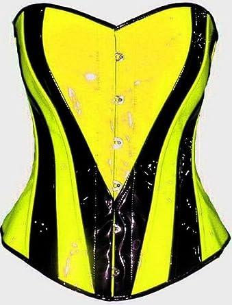 cbe4c514c9 Heart Shape Lime Yellow Black Corset Overbust Basque Steel Busk Xs S M L Xl  Custom Made to