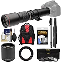 Vivitar 500mm f/8.0 Telephoto Lens with 2x Teleconverter (=1000mm) + Monopod + Backpack + 3 Filters Kit for Canon EOS 6D, 70D, 7D, 5DS, 5D Rebel T3, T3i, T5, T5i, T6i, T6s, SL1 Cameras