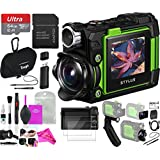 Olympus Stylus TG-Tracker Action Camera 204° Angle with 1.5-Inch LCD, 4K 30P Video, Wi-Fi Enabled (Green) + DigitalUniverse Camera Cleaning Cloth 64GB Accessory Bundle