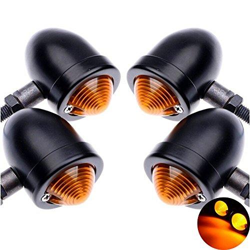 Base 8 Mm Projector - TUINCYN Motorcycle Turn Signals Light Bulb Black Anodized Aluminum Motor Indicator Light Blinker Lamp Mounting for Harley Honda Yamaha Bobber Custom Chopper Cafe Cruiser DC 12V(4pcs).