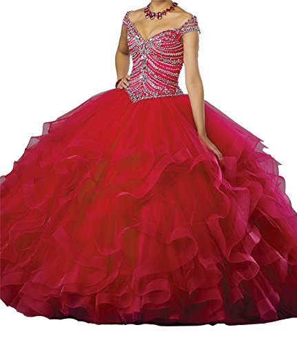 Quinceanera Gown New (MFandy Sweet Girls Beaded Ball Gowns Women Ruffled Quinceanera Dresses 4 US Red)