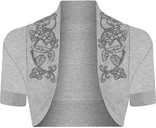 Cap Sleeve Cardigan Sweater - R KON Women's Beaded Cap Sleeve Shrugs Sequin Bolero Short Crop Cardigan Top Silver Grey ML