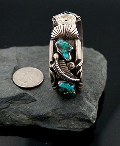Vintage Style Toadlena Old Pawn Navajo Silver Turquoise Heavy Native American Watch