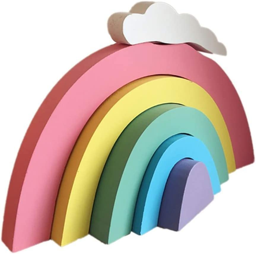 Kimkoala Wood Building Blocks Room Decoration Craft, Nordic Wooden Rainbow Cloud Building Block Game Educational Learning Toy Handmade Craft for Girl Baby Home Bedroom Ornaments