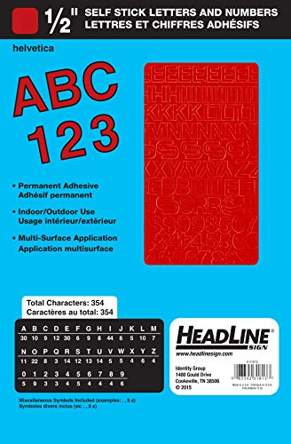 Headline Sign 31813 Stick-On Vinyl Letters and Numbers, Red, 1/2-Inch (Vinyl Numbers Red)