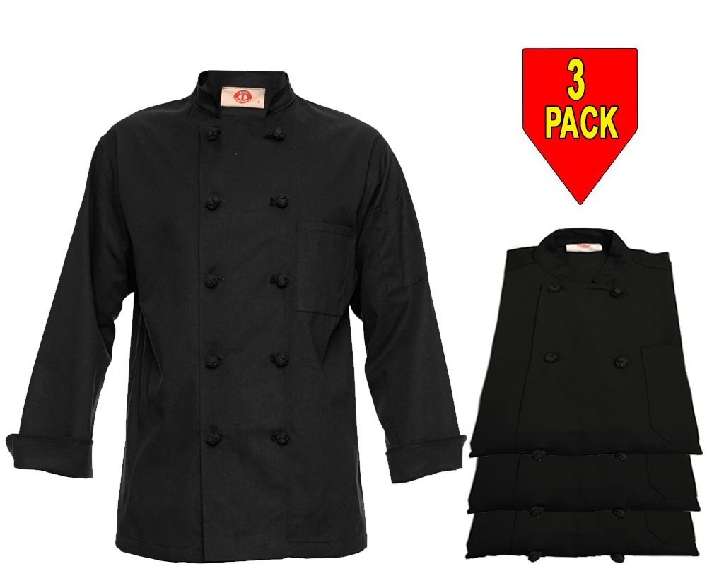 350 Chef Apparel 10 Knot Button Chef Coat-Easy-Care Twill - Black,3 Pack Black,3X-Large